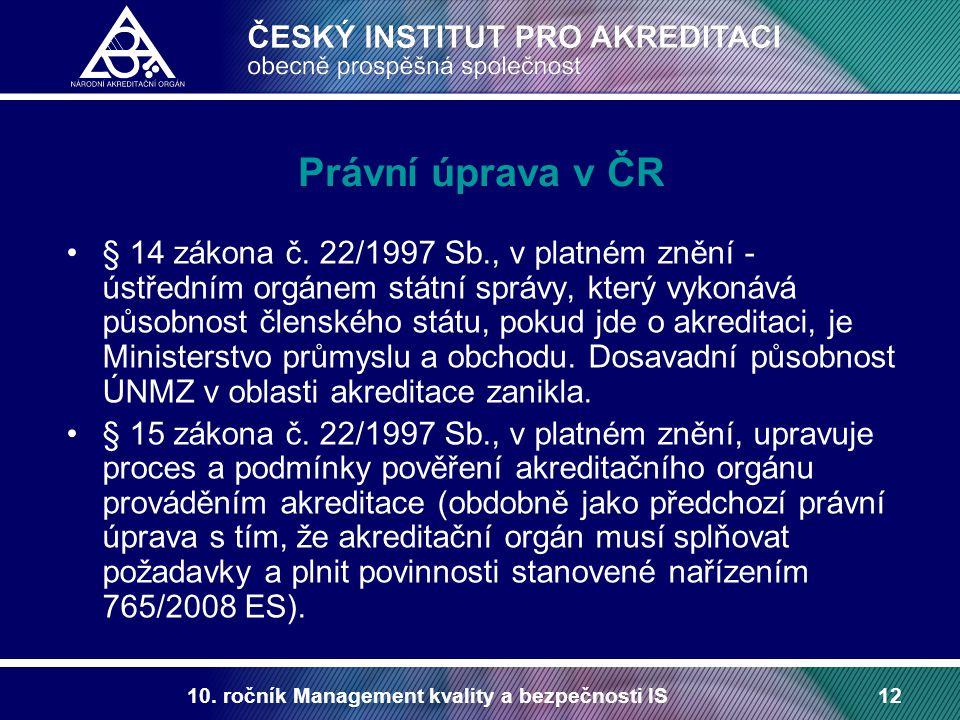 10. ročník Management kvality a bezpečnosti IS12 Právní úprava v ČR § 14 zákona č. 22/1997 Sb., v platném znění - ústředním orgánem státní správy, kte