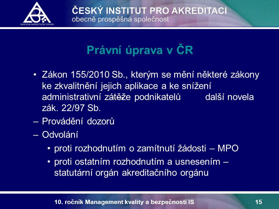 10. ročník Management kvality a bezpečnosti IS15 Právní úprava v ČR Zákon 155/2010 Sb., kterým se mění některé zákony ke zkvalitnění jejich aplikace a