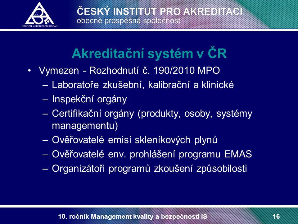 10. ročník Management kvality a bezpečnosti IS16 Akreditační systém v ČR Vymezen - Rozhodnutí č. 190/2010 MPO –Laboratoře zkušební, kalibrační a klini