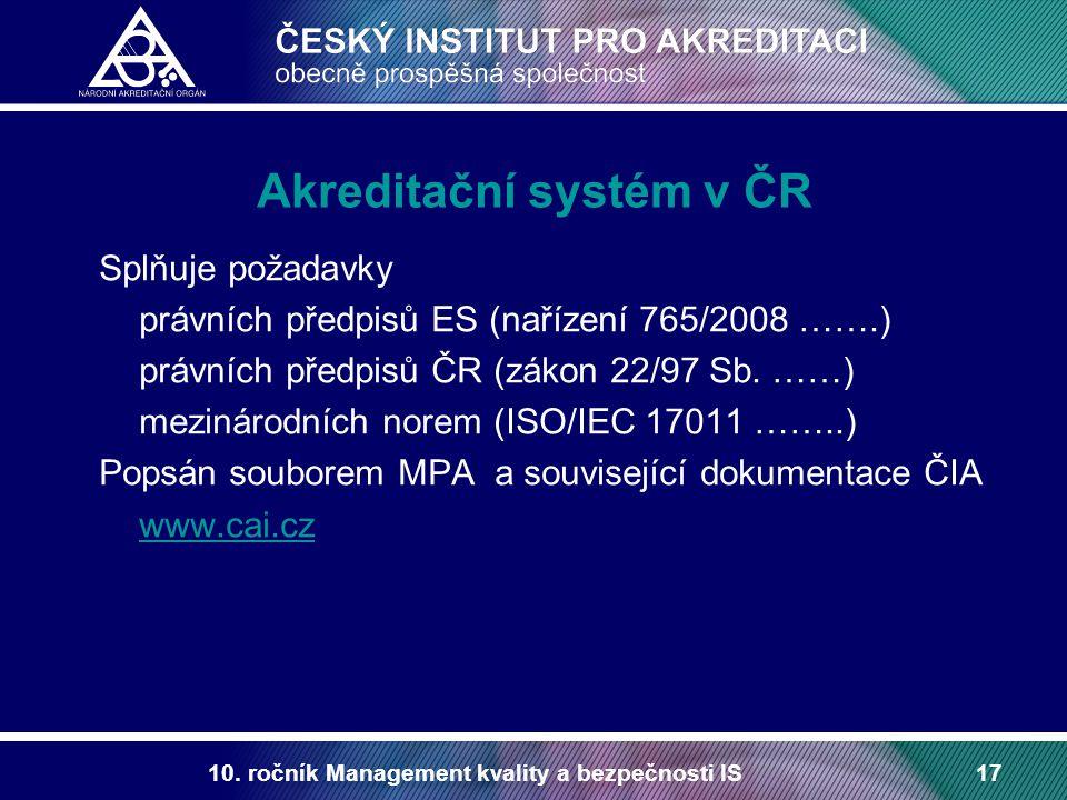 10. ročník Management kvality a bezpečnosti IS17 Akreditační systém v ČR Splňuje požadavky právních předpisů ES (nařízení 765/2008 …….) právních předp