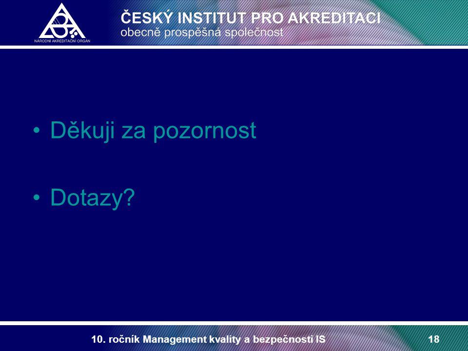 10. ročník Management kvality a bezpečnosti IS18 Děkuji za pozornost Dotazy?
