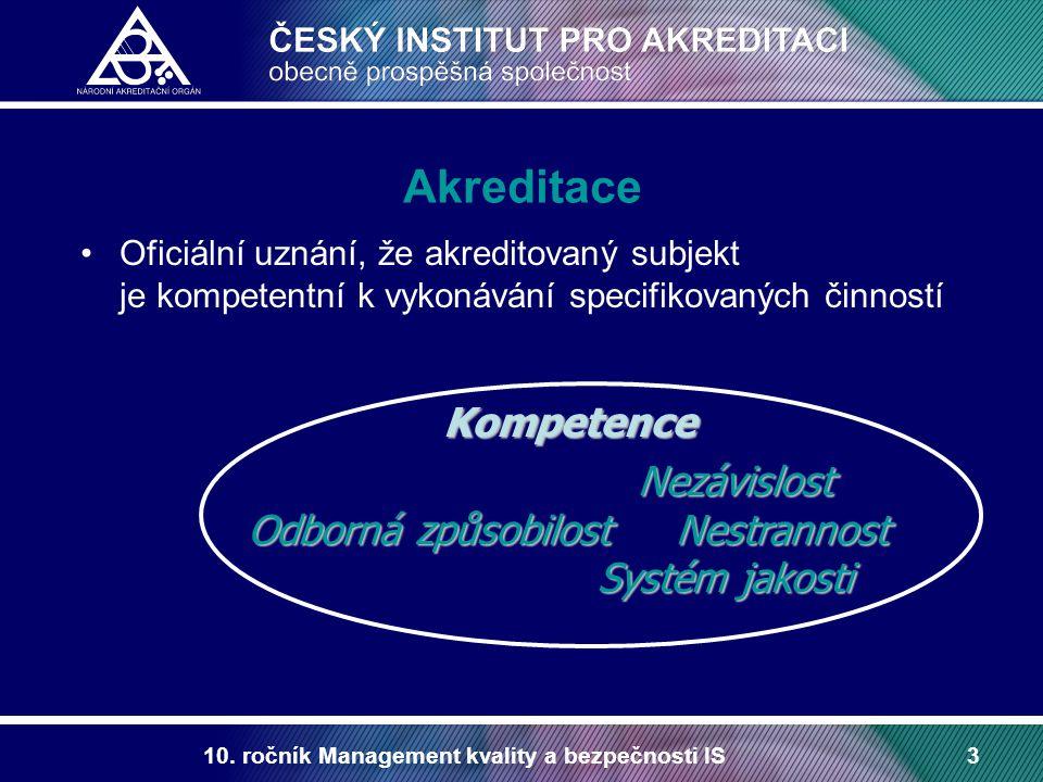 10. ročník Management kvality a bezpečnosti IS3 Akreditace Oficiální uznání, že akreditovaný subjekt je kompetentní k vykonávání specifikovaných činno