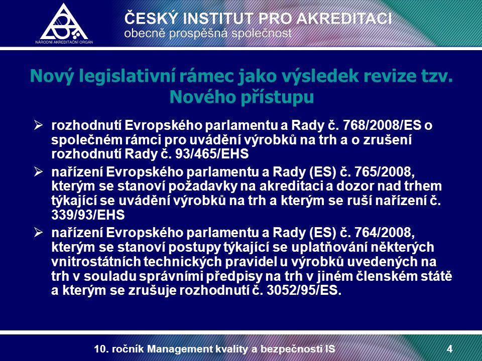 10. ročník Management kvality a bezpečnosti IS4 Nový legislativní rámec jako výsledek revize tzv. Nového přístupu  rozhodnutí Evropského parlamentu a
