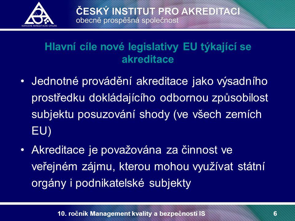10. ročník Management kvality a bezpečnosti IS6 Hlavní cíle nové legislativy EU týkající se akreditace Jednotné provádění akreditace jako výsadního pr
