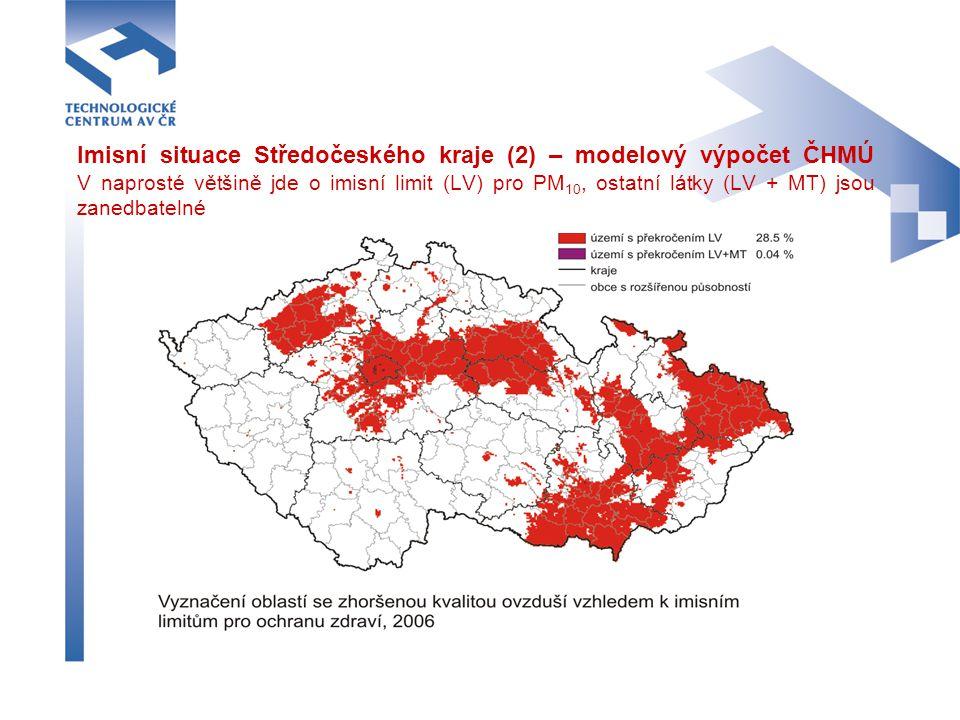 Imisní situace Středočeského kraje (2) – modelový výpočet ČHMÚ V naprosté většině jde o imisní limit (LV) pro PM 10, ostatní látky (LV + MT) jsou zane