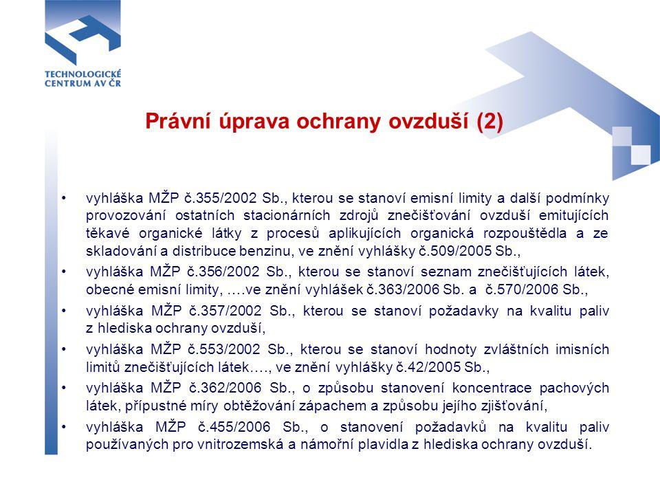 Právní úprava ochrany ovzduší (2) vyhláška MŽP č.355/2002 Sb., kterou se stanoví emisní limity a další podmínky provozování ostatních stacionárních zd