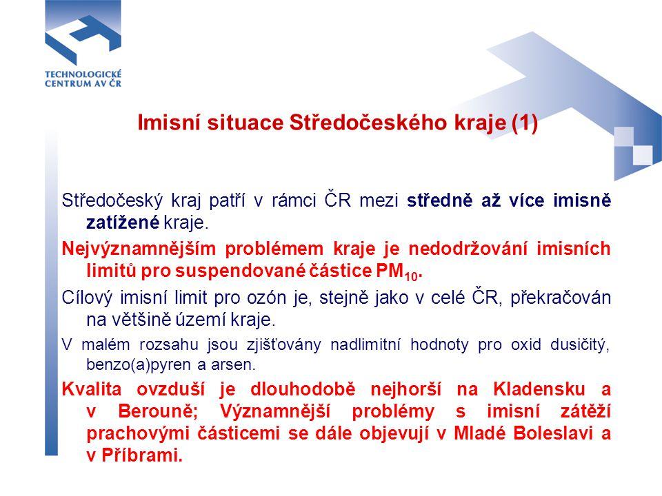 Imisní situace Středočeského kraje (1) Středočeský kraj patří v rámci ČR mezi středně až více imisně zatížené kraje. Nejvýznamnějším problémem kraje j