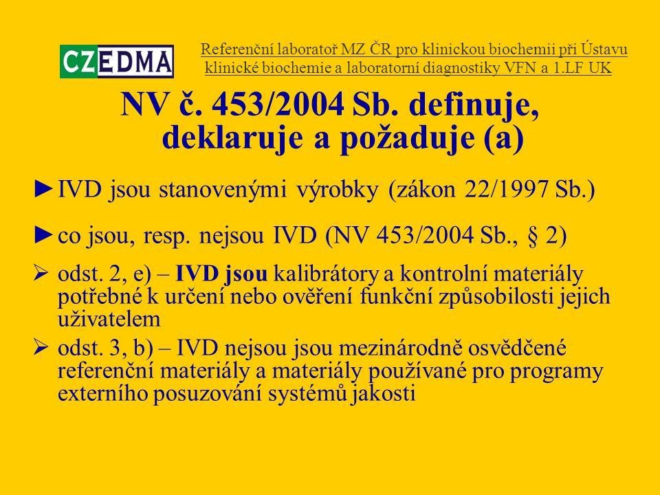 NV č. 453/2004 Sb. definuje, deklaruje a požaduje (a) ►IVD jsou stanovenými výrobky (zákon 22/1997 Sb.) ►co jsou, resp. nejsou IVD (NV 453/2004 Sb., §