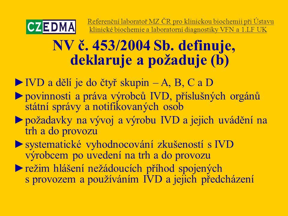 NV č. 453/2004 Sb. definuje, deklaruje a požaduje (b) ►IVD a dělí je do čtyř skupin – A, B, C a D ►povinnosti a práva výrobců IVD, příslušných orgánů