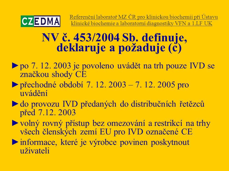 NV č. 453/2004 Sb. definuje, deklaruje a požaduje (c) ►po 7. 12. 2003 je povoleno uvádět na trh pouze IVD se značkou shody CE ►přechodné období 7. 12.