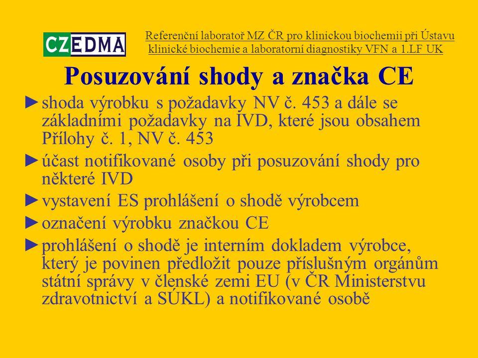 Posuzování shody a značka CE ►shoda výrobku s požadavky NV č. 453 a dále se základními požadavky na IVD, které jsou obsahem Přílohy č. 1, NV č. 453 ►ú