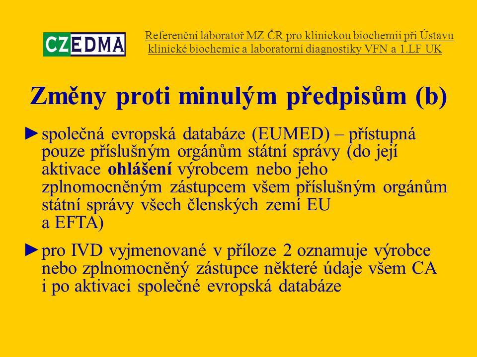Změny proti minulým předpisům (b) ►společná evropská databáze (EUMED) – přístupná pouze příslušným orgánům státní správy (do její aktivace ohlášení vý