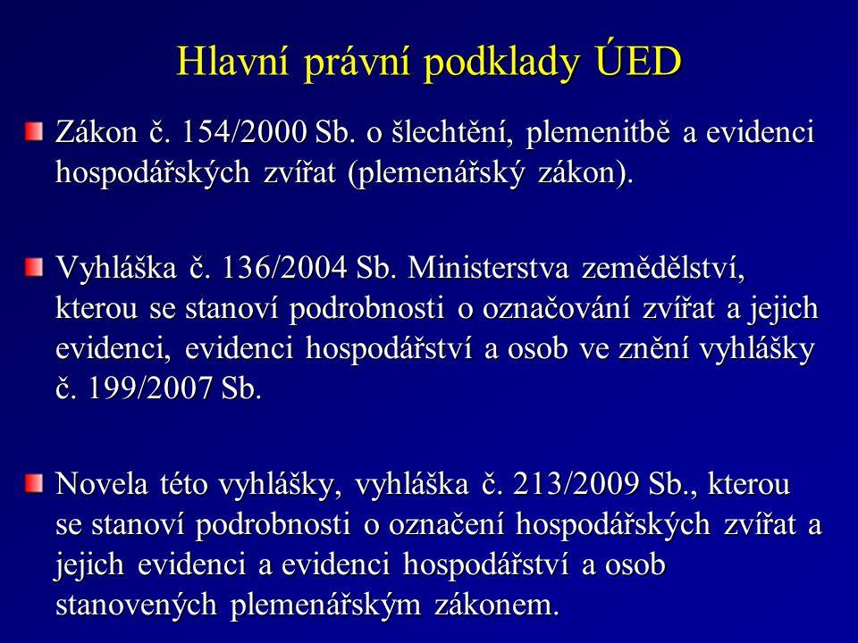 ní podklady ÚED Hlavní právní podklady ÚED Zákon č.