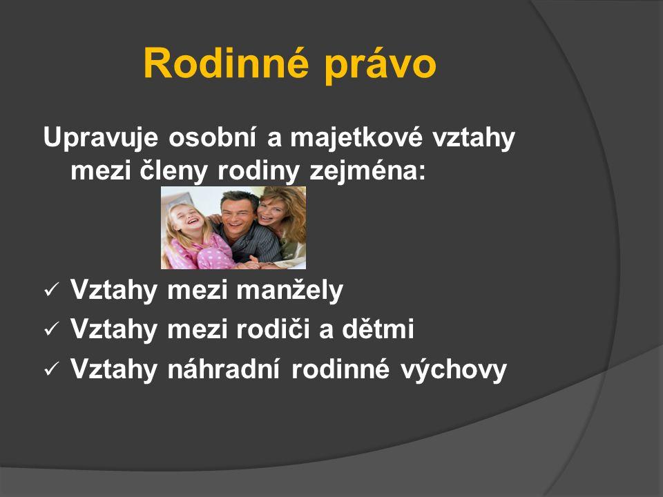 Rodinné právo Upravuje osobní a majetkové vztahy mezi členy rodiny zejména: Vztahy mezi manžely Vztahy mezi rodiči a dětmi Vztahy náhradní rodinné výc