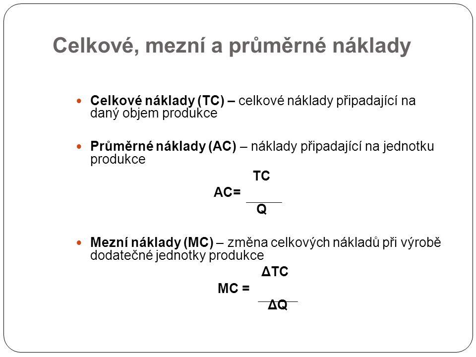 Celkové, mezní a průměrné náklady Celkové náklady (TC) – celkové náklady připadající na daný objem produkce Průměrné náklady (AC) – náklady připadající na jednotku produkce TC AC= Q Mezní náklady (MC) – změna celkových nákladů při výrobě dodatečné jednotky produkce ΔTC MC = ΔQ