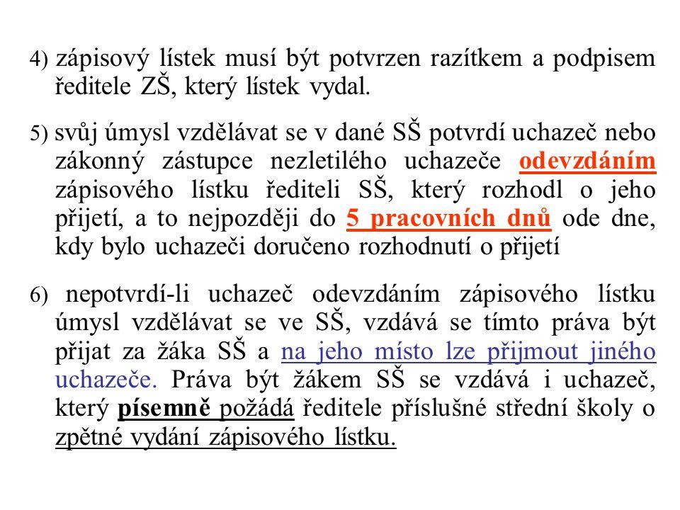 4) zápisový lístek musí být potvrzen razítkem a podpisem ředitele ZŠ, který lístek vydal.