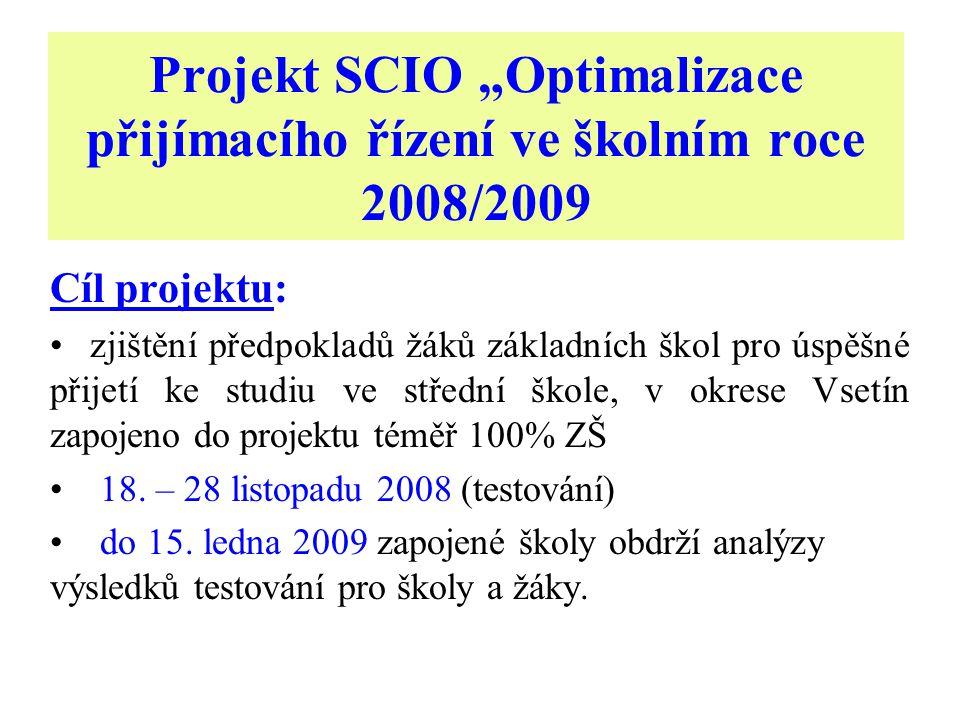 """Projekt SCIO """"Optimalizace přijímacího řízení ve školním roce 2008/2009 Cíl projektu: zjištění předpokladů žáků základních škol pro úspěšné přijetí ke studiu ve střední škole, v okrese Vsetín zapojeno do projektu téměř 100% ZŠ 18."""