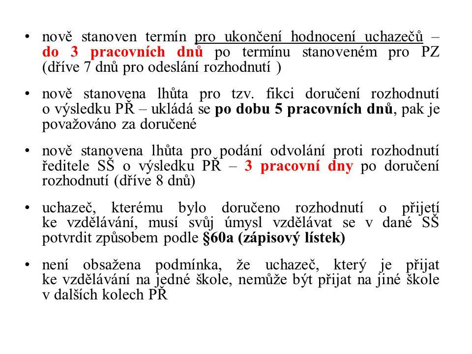nově stanoven termín pro ukončení hodnocení uchazečů – do 3 pracovních dnů po termínu stanoveném pro PZ (dříve 7 dnů pro odeslání rozhodnutí ) nově stanovena lhůta pro tzv.