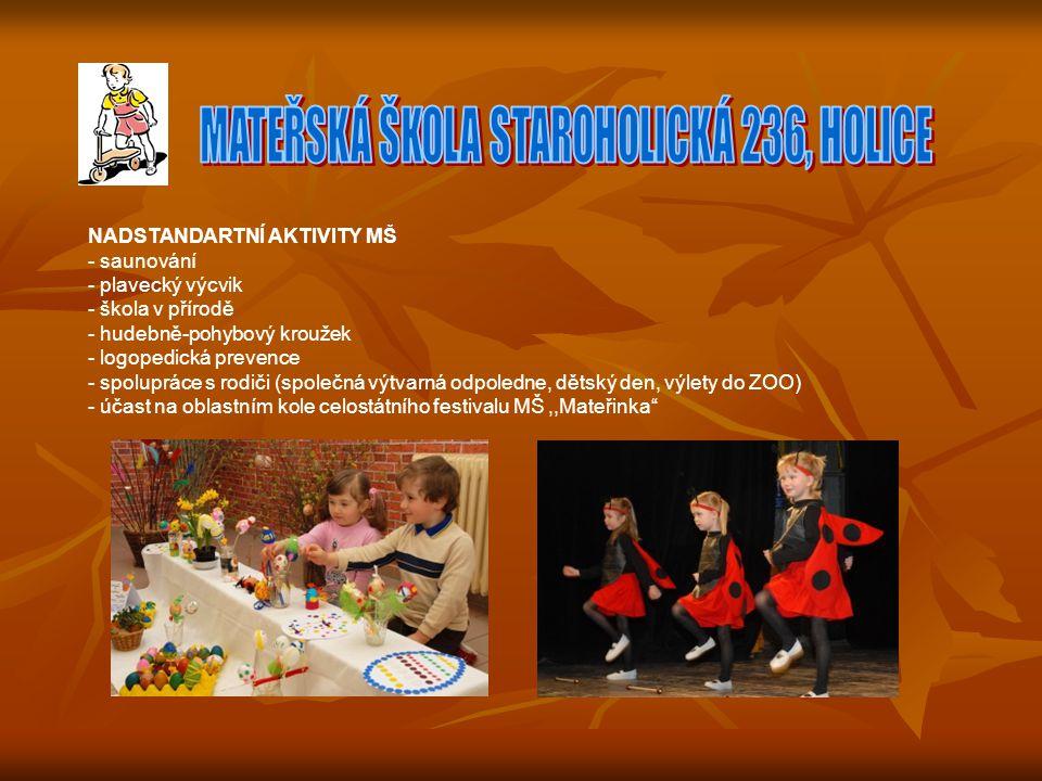 NADSTANDARTNÍ AKTIVITY MŠ - saunování - plavecký výcvik - škola v přírodě - hudebně-pohybový kroužek - logopedická prevence - spolupráce s rodiči (společná výtvarná odpoledne, dětský den, výlety do ZOO) - účast na oblastním kole celostátního festivalu MŠ,,Mateřinka