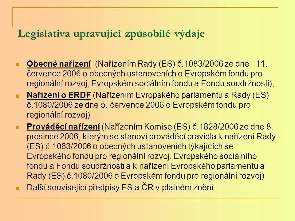 Legislativa upravující způsobilé výdaje Obecné nařízení (Nařízením Rady (ES) č.1083/2006 ze dne 11.