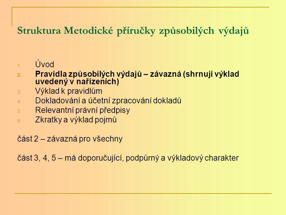 Struktura Metodické příručky způsobilých výdajů 1.