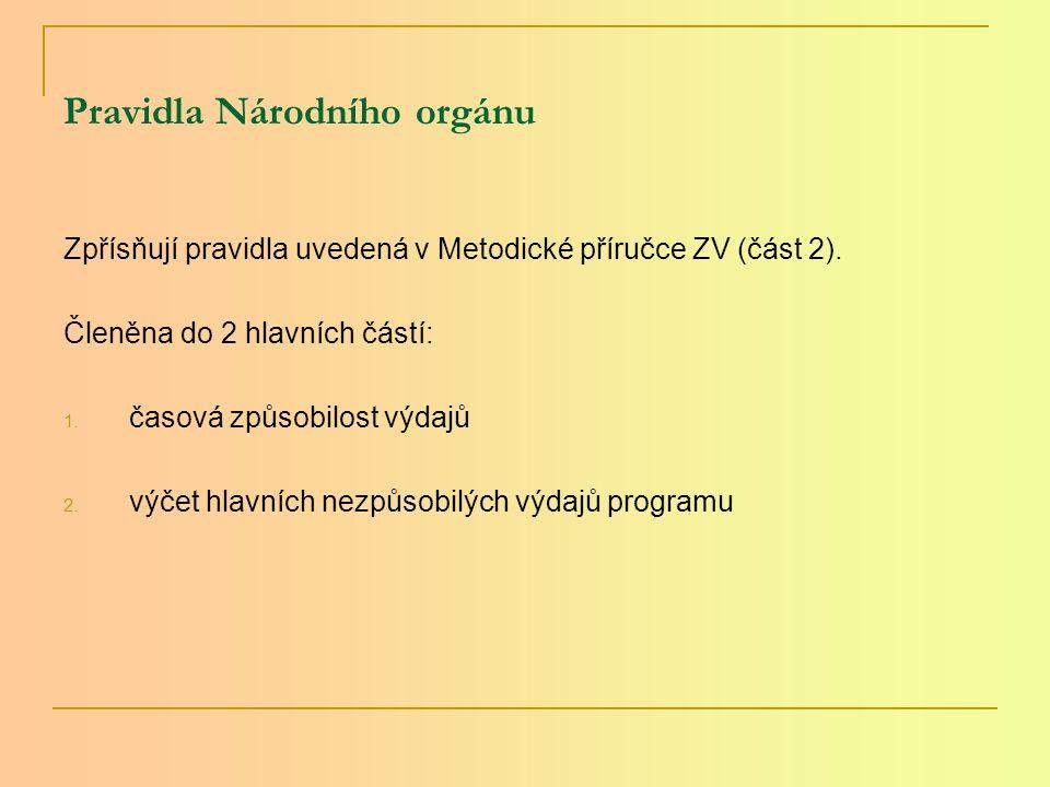 Pravidla Národního orgánu Zpřísňují pravidla uvedená v Metodické příručce ZV (část 2).