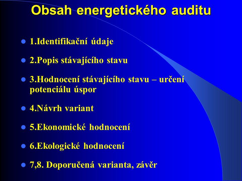 Obsah energetického auditu 1.Identifikační údaje 2.Popis stávajícího stavu 3.Hodnocení stávajícího stavu – určení potenciálu úspor 4.Návrh variant 5.Ekonomické hodnocení 6.Ekologické hodnocení 7,8.