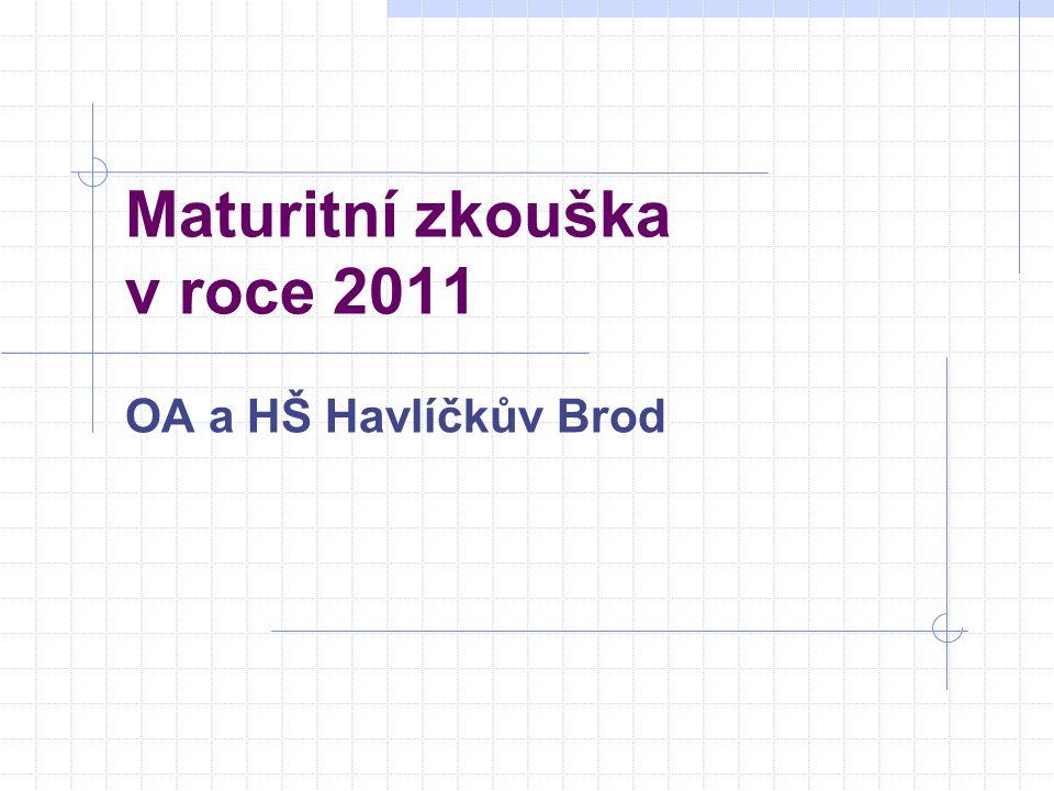 Maturitní zkouška v roce 2011 OA a HŠ Havlíčkův Brod