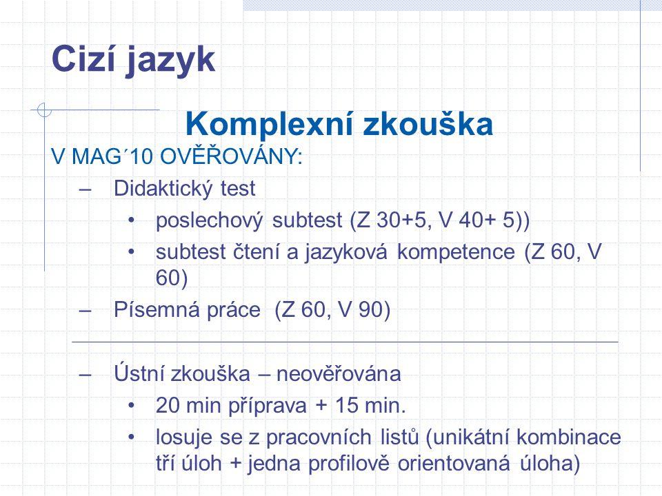 Cizí jazyk Komplexní zkouška V MAG´10 OVĚŘOVÁNY: –Didaktický test poslechový subtest (Z 30+5, V 40+ 5)) subtest čtení a jazyková kompetence (Z 60, V 6
