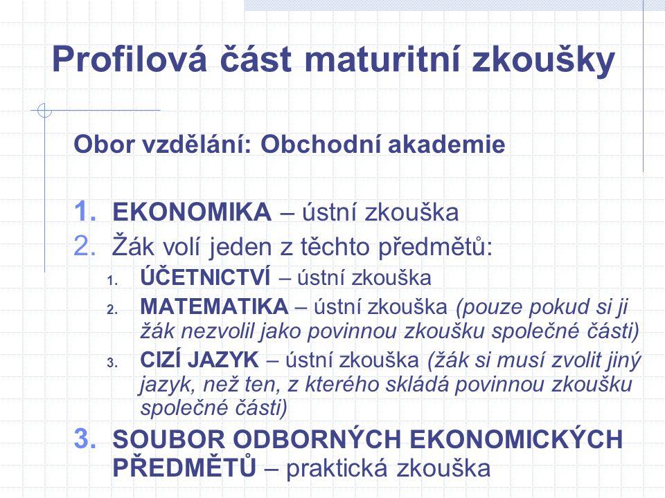 Profilová část maturitní zkoušky Obor vzdělání: Obchodní akademie 1. EKONOMIKA – ústní zkouška 2. Žák volí jeden z těchto předmětů: 1. ÚČETNICTVÍ – ús