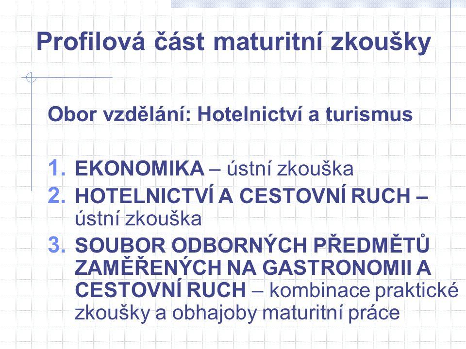 Profilová část maturitní zkoušky Obor vzdělání: Hotelnictví a turismus 1. EKONOMIKA – ústní zkouška 2. HOTELNICTVÍ A CESTOVNÍ RUCH – ústní zkouška 3.