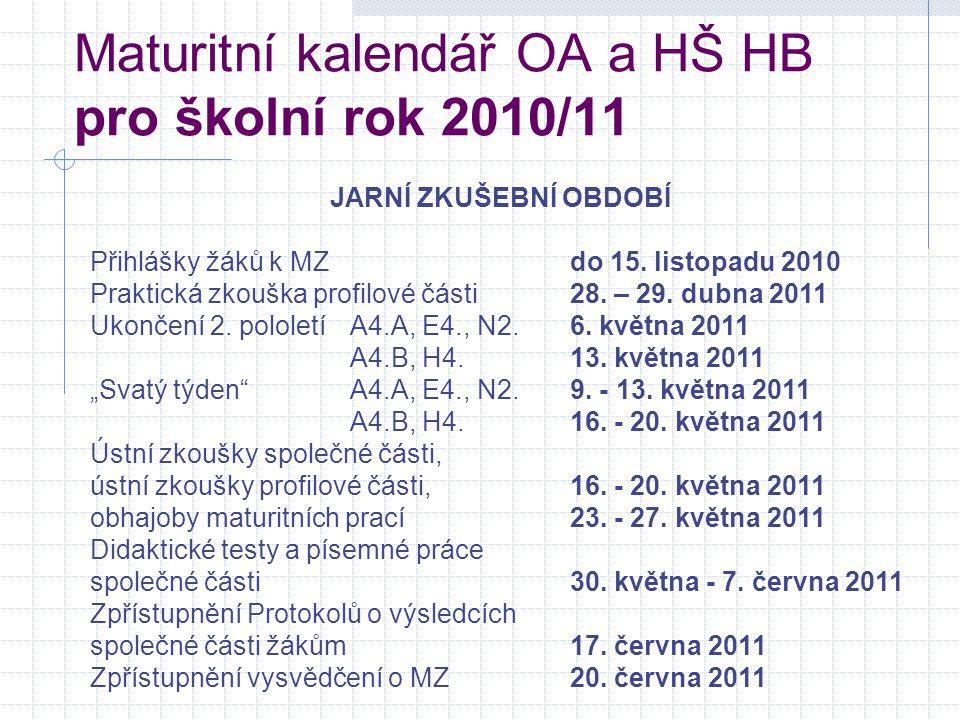 Maturitní kalendář OA a HŠ HB pro školní rok 2010/11 JARNÍ ZKUŠEBNÍ OBDOBÍ Přihlášky žáků k MZdo 15. listopadu 2010 Praktická zkouška profilové části