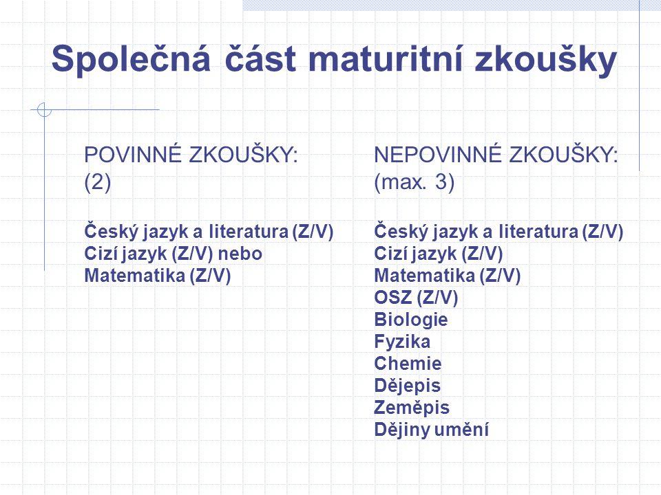 Společná část maturitní zkoušky POVINNÉ ZKOUŠKY:NEPOVINNÉ ZKOUŠKY: (2)(max. 3)Český jazyk a literatura (Z/V) Cizí jazyk (Z/V) nebo Cizí jazyk (Z/V) Ma
