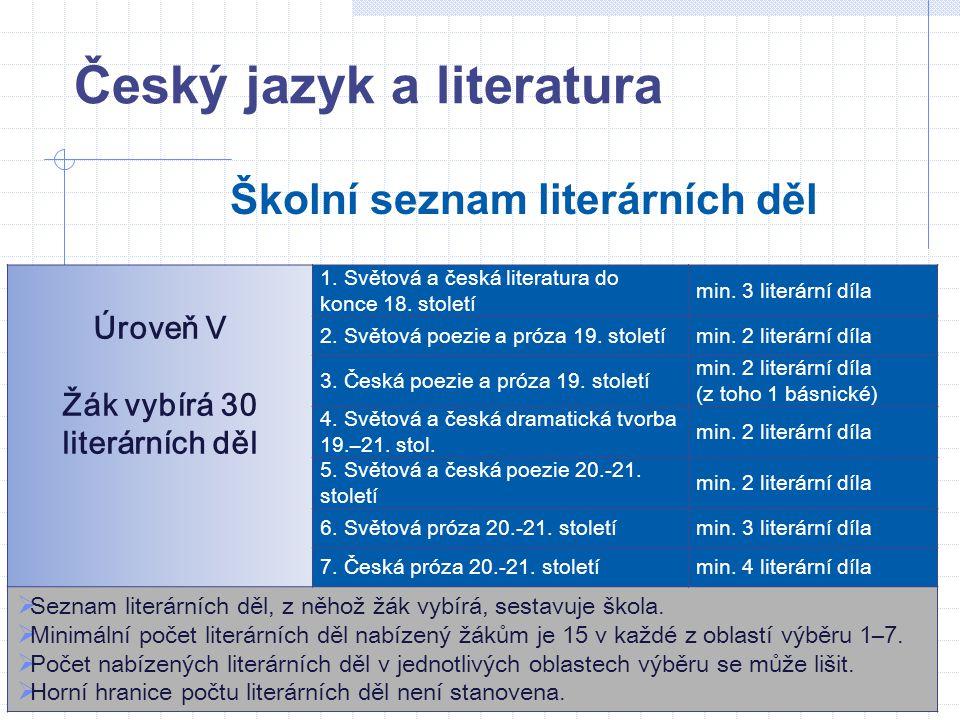 Český jazyk a literatura Školní seznam literárních děl Úroveň V Žák vybírá 30 literárních děl 1. Světová a česká literatura do konce 18. století min.