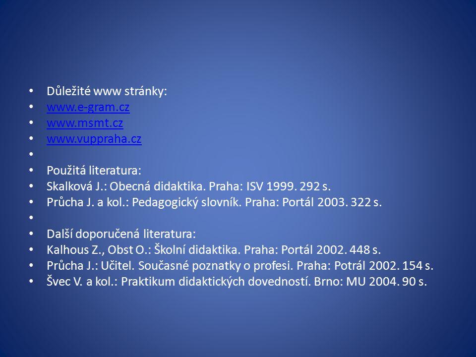 Důležité www stránky: www.e-gram.cz www.msmt.cz www.vuppraha.cz Použitá literatura: Skalková J.: Obecná didaktika. Praha: ISV 1999. 292 s. Průcha J. a