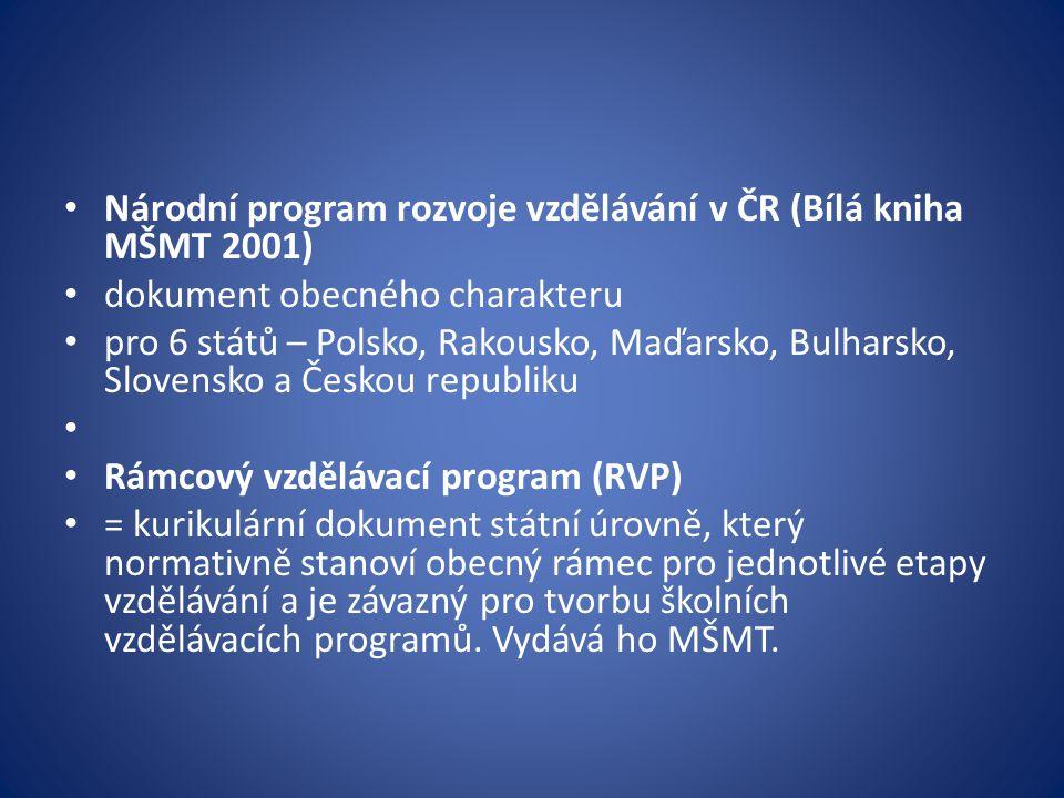 Národní program rozvoje vzdělávání v ČR (Bílá kniha MŠMT 2001) dokument obecného charakteru pro 6 států – Polsko, Rakousko, Maďarsko, Bulharsko, Slovensko a Českou republiku Rámcový vzdělávací program (RVP) = kurikulární dokument státní úrovně, který normativně stanoví obecný rámec pro jednotlivé etapy vzdělávání a je závazný pro tvorbu školních vzdělávacích programů.