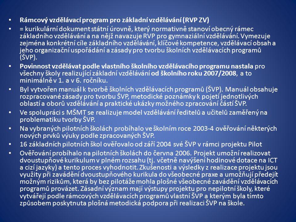 Rámcový vzdělávací program pro základní vzdělávání (RVP ZV) = kurikulární dokument státní úrovně, který normativně stanoví obecný rámec základního vzd