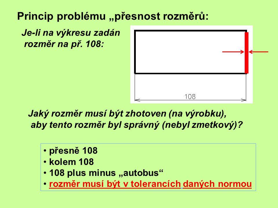 """Princip problému """"přesnost rozměrů: Je-li na výkresu zadán rozměr na př. 108: Jaký rozměr musí být zhotoven (na výrobku), aby tento rozměr byl správný"""