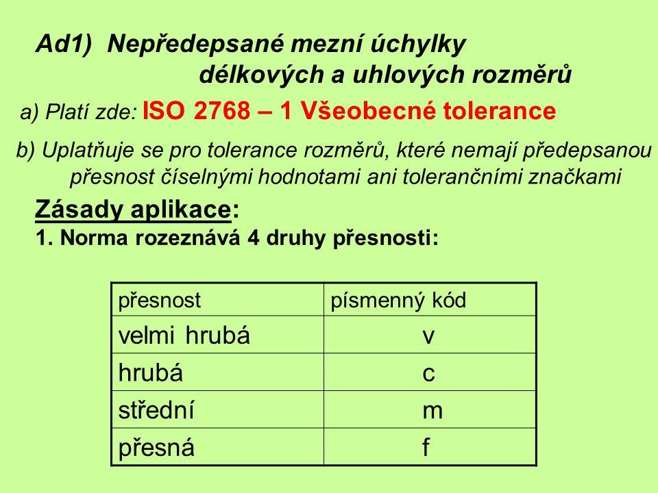 Ad1) Nepředepsané mezní úchylky délkových a uhlových rozměrů a) Platí zde: ISO 2768 – 1 Všeobecné tolerance b) Uplatňuje se pro tolerance rozměrů, kte