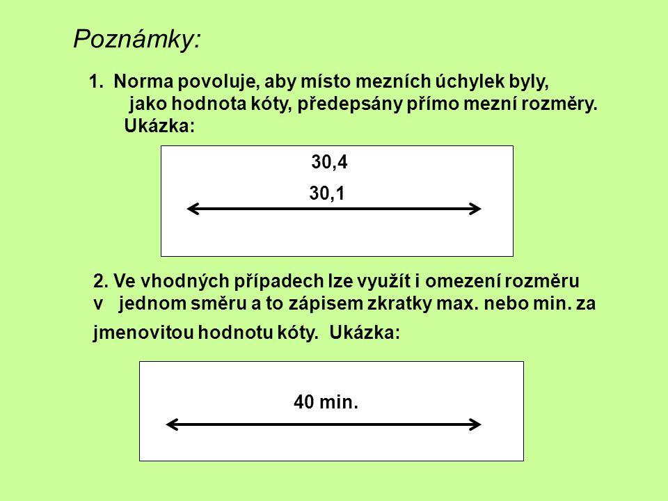 Poznámky: 30,4 30,1 1.Norma povoluje, aby místo mezních úchylek byly, jako hodnota kóty, předepsány přímo mezní rozměry. Ukázka: 2. Ve vhodných případ