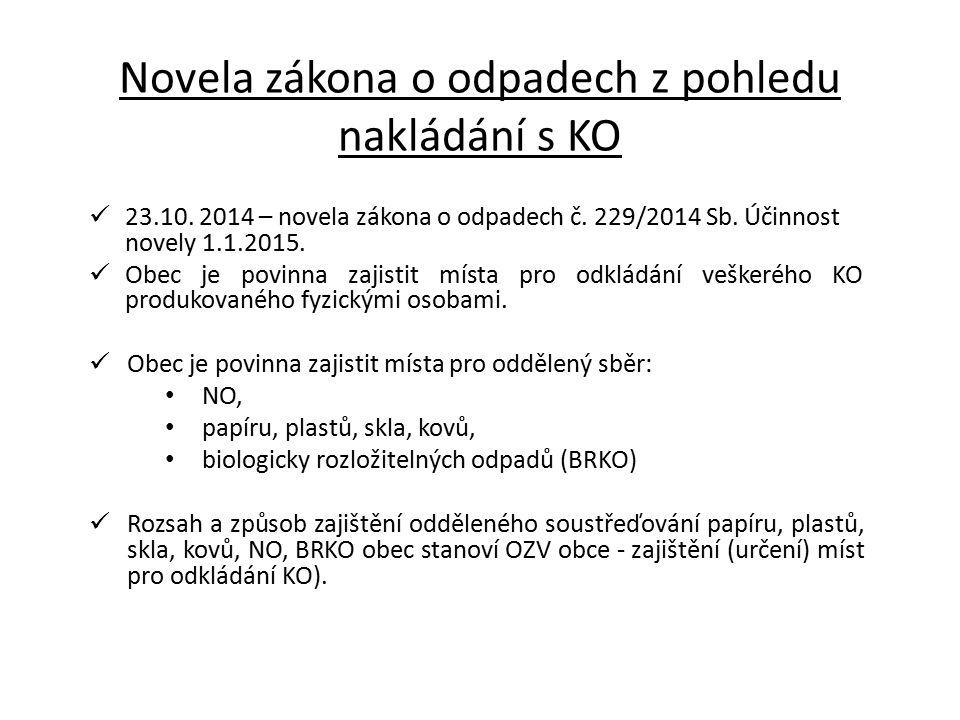 Novela zákona o odpadech z pohledu nakládání s KO Původci KO mohou využít systému obce na základě smlouvy (výše ceny).