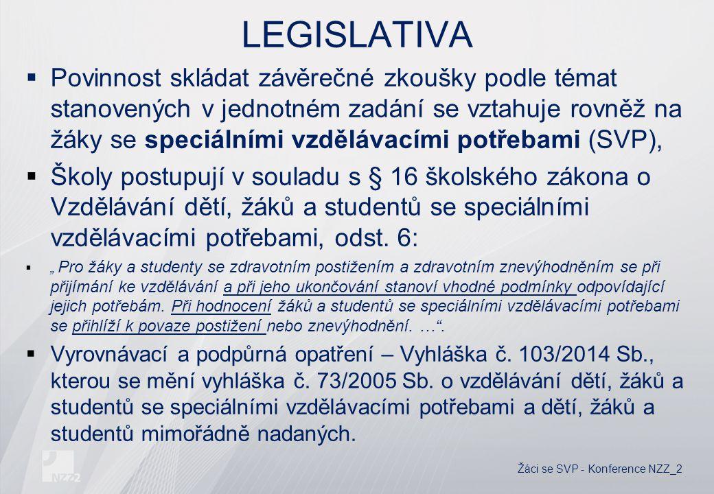 LEGISLATIVA  Povinnost skládat závěrečné zkoušky podle témat stanovených v jednotném zadání se vztahuje rovněž na žáky se speciálními vzdělávacími potřebami (SVP),  Školy postupují v souladu s § 16 školského zákona o Vzdělávání dětí, žáků a studentů se speciálními vzdělávacími potřebami, odst.
