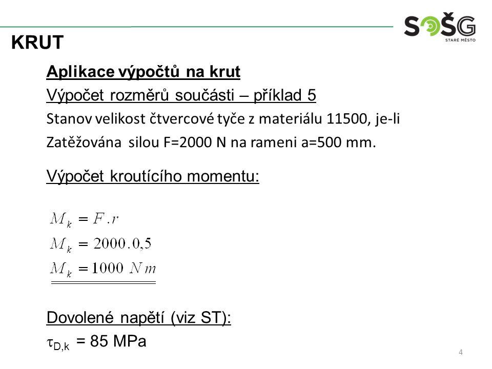 KRUT Aplikace výpočtů na krut Výpočet rozměrů součásti – příklad 5 Stanov velikost čtvercové tyče z materiálu 11500, je-li Zatěžována silou F=2000 N n