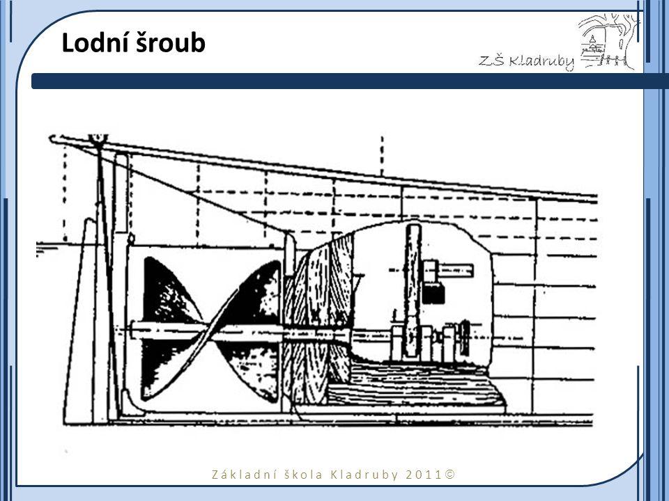 Základní škola Kladruby 2011  Lodní šroub Ressel stanovil správný tvar a velikost Archimédova šroubu (ze 16. století) a vymyslel i nejvhodnější umíst