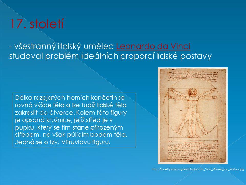 17. století - všestranný italský umělec Leonardo da Vinci studoval problém ideálních proporcí lidské postavy Délka rozpjatých horních končetin se rovn