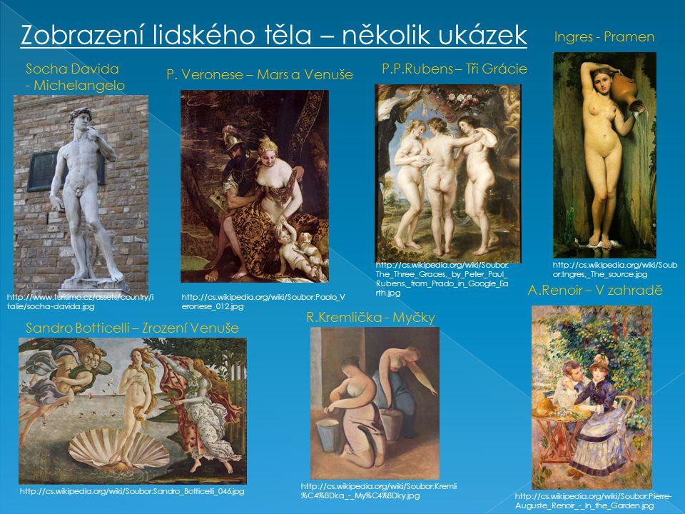 Zobrazení lidského těla – několik ukázek http://www.turisimo.cz/assets/country/i talie/socha-davida.jpg Socha Davida - Michelangelo http://cs.wikipedi