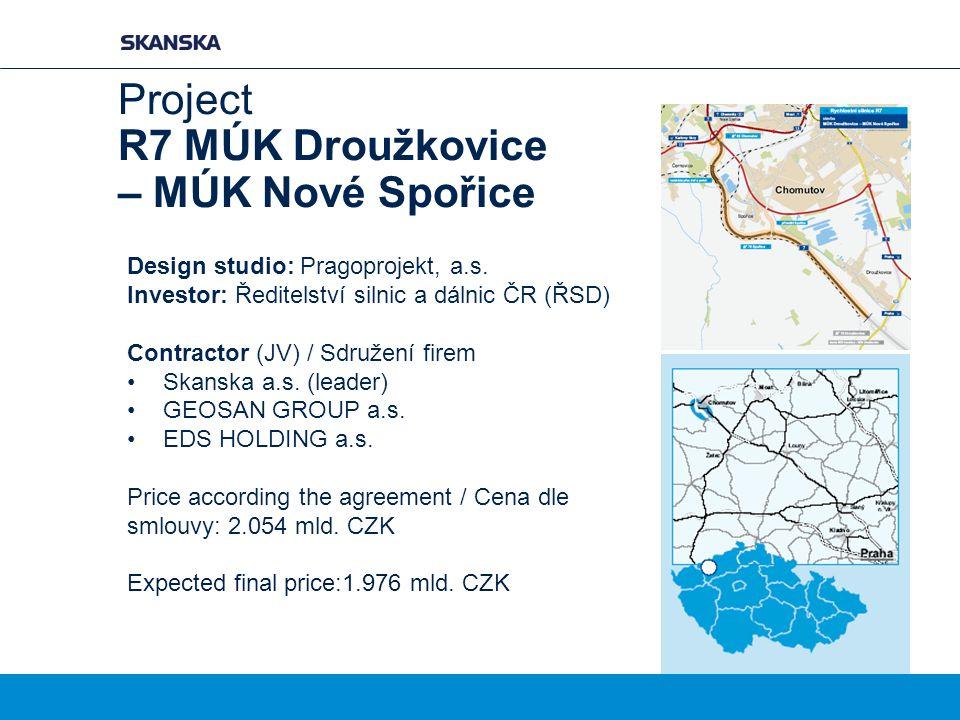 Project R7 MÚK Droužkovice – MÚK Nové Spořice Design studio: Pragoprojekt, a.s. Investor: Ředitelství silnic a dálnic ČR (ŘSD) Contractor (JV) / Sdruž