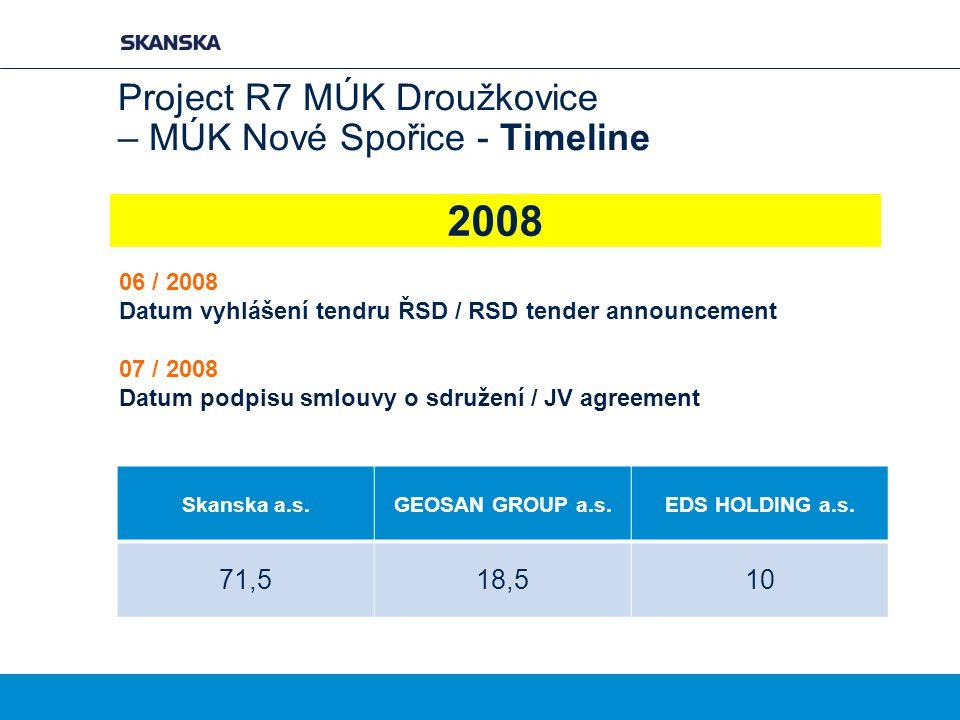 Project R7 MÚK Droužkovice – MÚK Nové Spořice - Timeline 06 / 2008 Datum vyhlášení tendru ŘSD / RSD tender announcement 07 / 2008 Datum podpisu smlouv