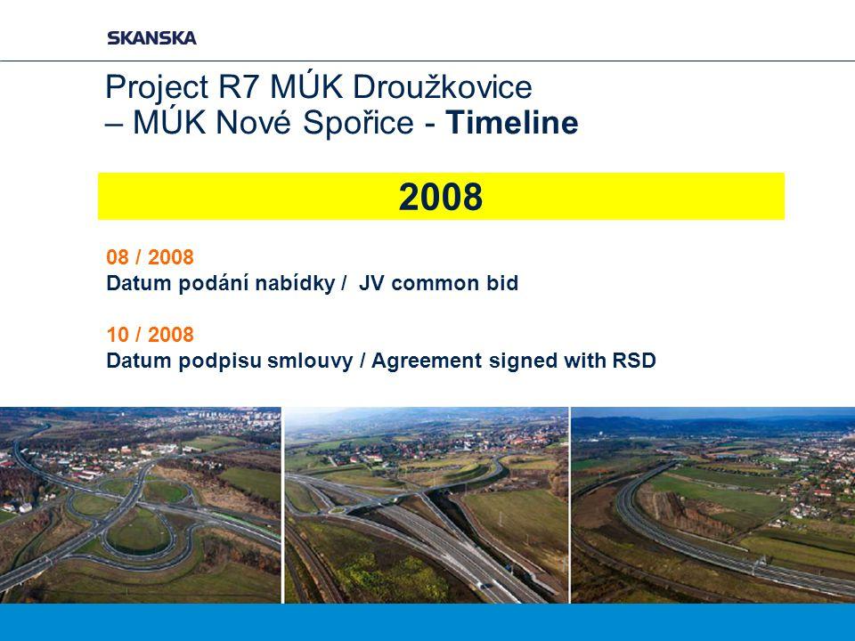 Project R7 MÚK Droužkovice – MÚK Nové Spořice - Timeline 08 / 2008 Datum podání nabídky / JV common bid 10 / 2008 Datum podpisu smlouvy / Agreement si
