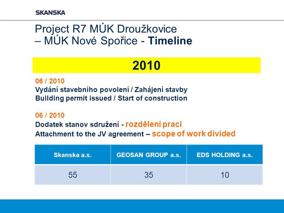 Project R7 MÚK Droužkovice – MÚK Nové Spořice - Timeline 06 / 2010 Vydání stavebního povolení / Zahájení stavby Building permit issued / Start of cons
